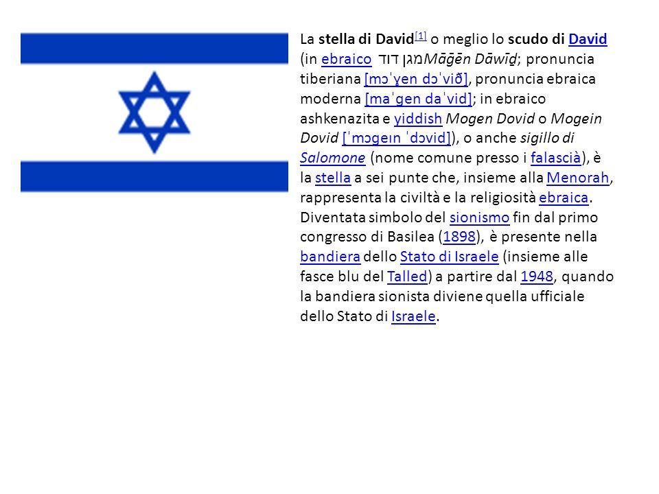 La stella di David [1] o meglio lo scudo di David (in ebraico מגן דוד Māēn Dāwī; pronuncia tiberiana [mɔˈɣen dɔˈvið], pronuncia ebraica moderna [maˈɡe