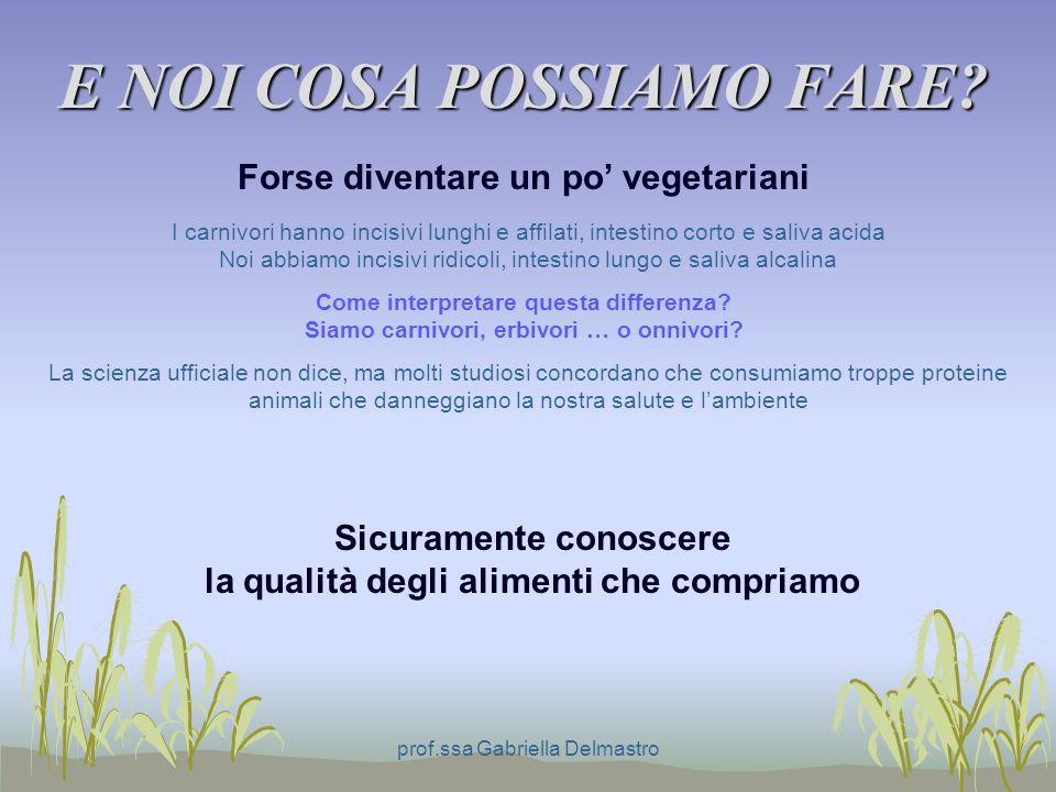 E NOI COSA POSSIAMO FARE? prof.ssa Gabriella Delmastro Forse diventare un po vegetariani I carnivori hanno incisivi lunghi e affilati, intestino corto