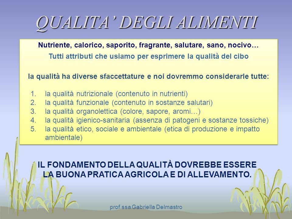 QUALITA DEGLI ALIMENTI prof.ssa Gabriella Delmastro Nutriente, calorico, saporito, fragrante, salutare, sano, nocivo… Tutti attributi che usiamo per e
