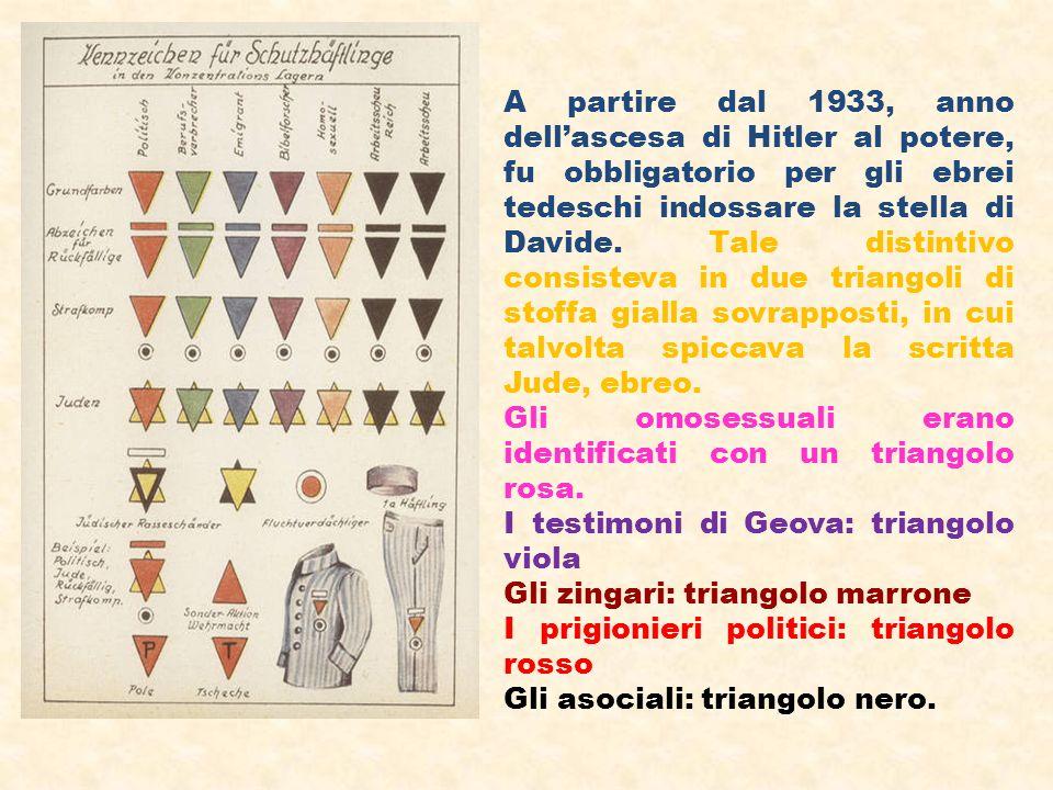 A partire dal 1933, anno dellascesa di Hitler al potere, fu obbligatorio per gli ebrei tedeschi indossare la stella di Davide. Tale distintivo consist