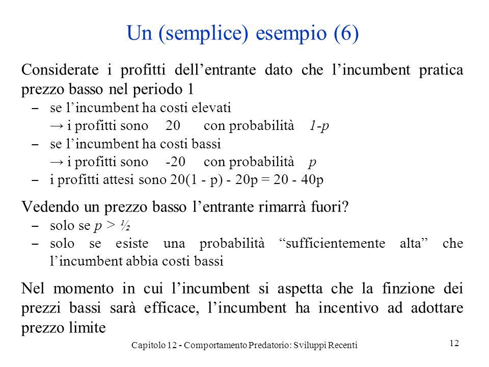Un (semplice) esempio (6) Considerate i profitti dellentrante dato che lincumbent pratica prezzo basso nel periodo 1 se lincumbent ha costi elevati i profitti sono20con probabilità1-p se lincumbent ha costi bassi i profitti sono-20con probabilitàp i profitti attesi sono 20(1 - p) - 20p = 20 - 40p Vedendo un prezzo basso lentrante rimarrà fuori.