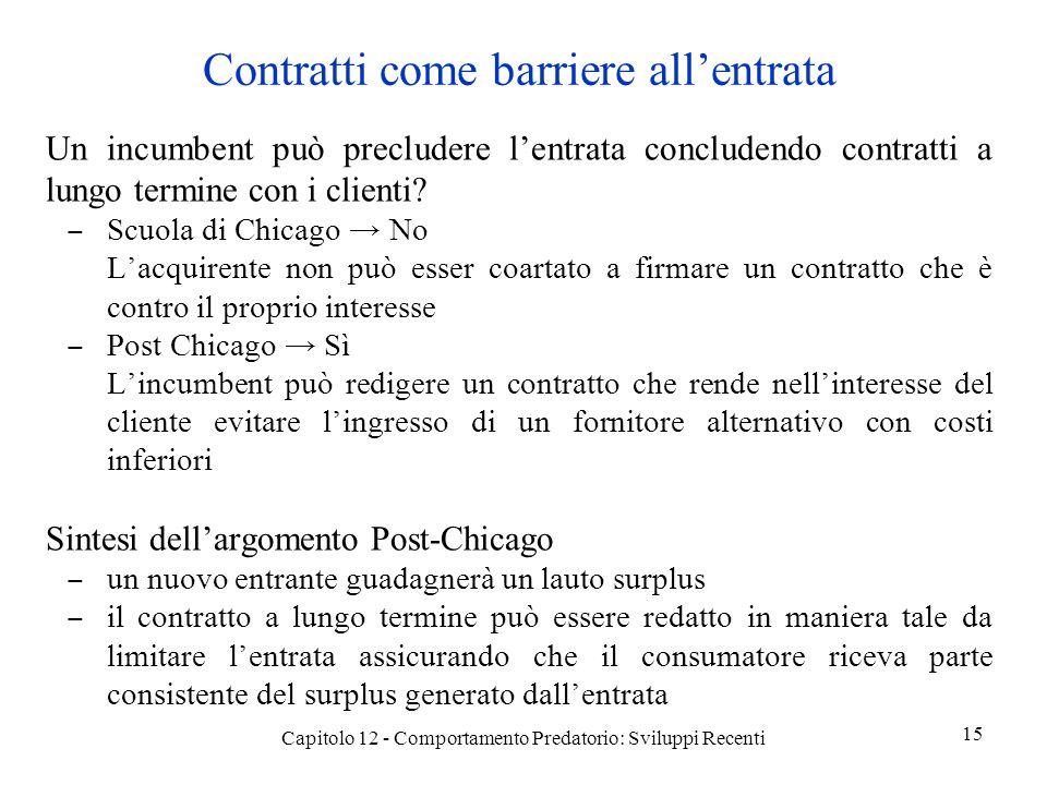 Contratti come barriere allentrata Un incumbent può precludere lentrata concludendo contratti a lungo termine con i clienti.