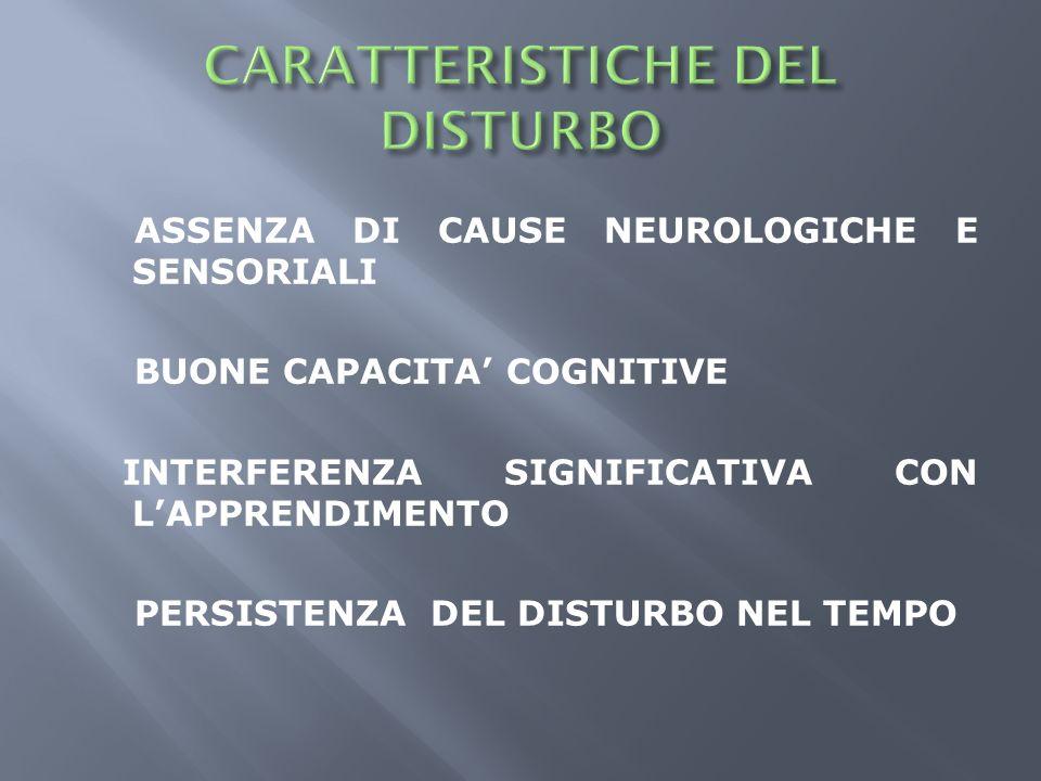ASSENZA DI CAUSE NEUROLOGICHE E SENSORIALI BUONE CAPACITA COGNITIVE INTERFERENZA SIGNIFICATIVA CON LAPPRENDIMENTO PERSISTENZA DEL DISTURBO NEL TEMPO