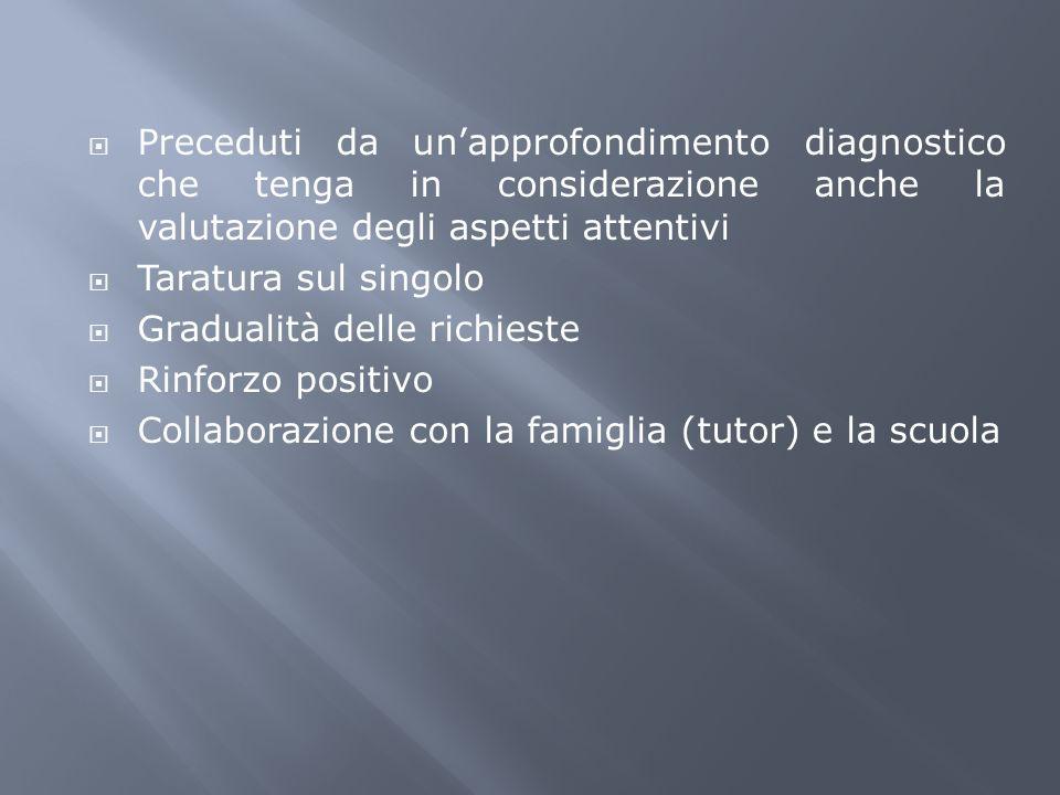 Preceduti da unapprofondimento diagnostico che tenga in considerazione anche la valutazione degli aspetti attentivi Taratura sul singolo Gradualità de