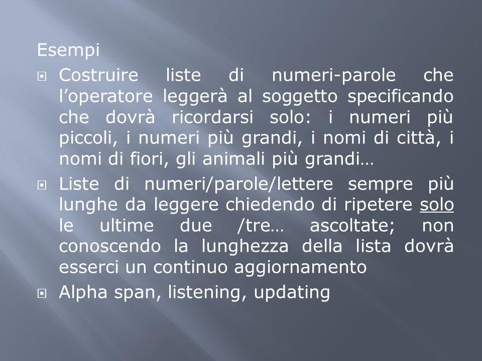 Esempi Costruire liste di numeri-parole che loperatore leggerà al soggetto specificando che dovrà ricordarsi solo: i numeri più piccoli, i numeri più
