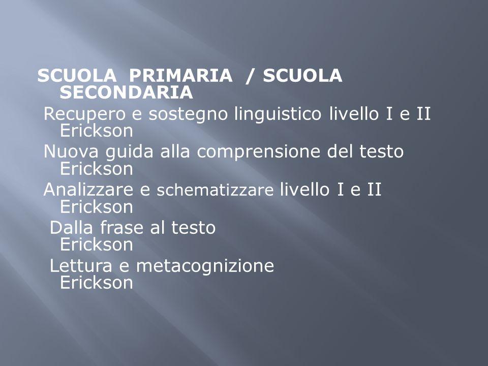 SCUOLA PRIMARIA / SCUOLA SECONDARIA Recupero e sostegno linguistico livello I e II Erickson Nuova guida alla comprensione del testo Erickson Analizzar