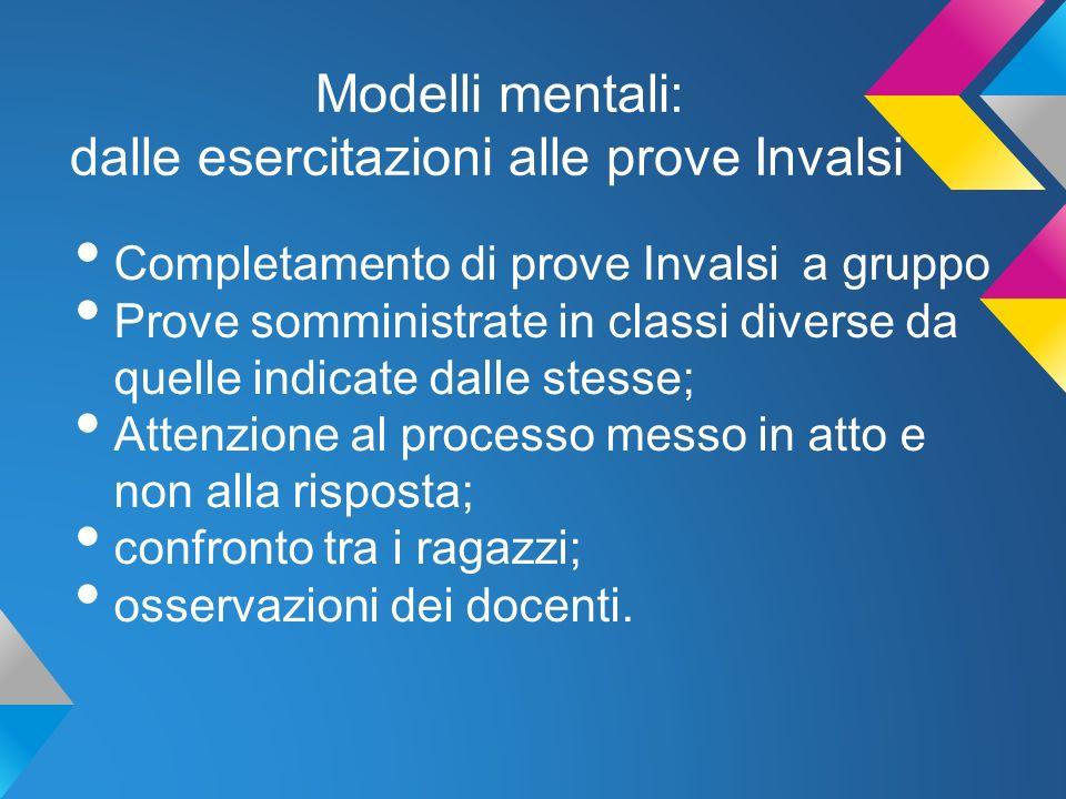 Modelli mentali: dalle esercitazioni alle prove Invalsi osservazioni Riportiamo a titolo di esempio due tabelle in cui la relatrice ha riassunto le diverse osservazioni emerse nei gruppi
