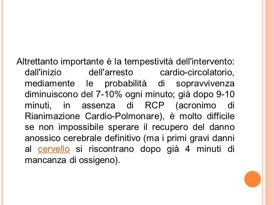 Altrettanto importante è la tempestività dell'intervento: dall'inizio dell'arresto cardio-circolatorio, mediamente le probabilità di sopravvivenza dim