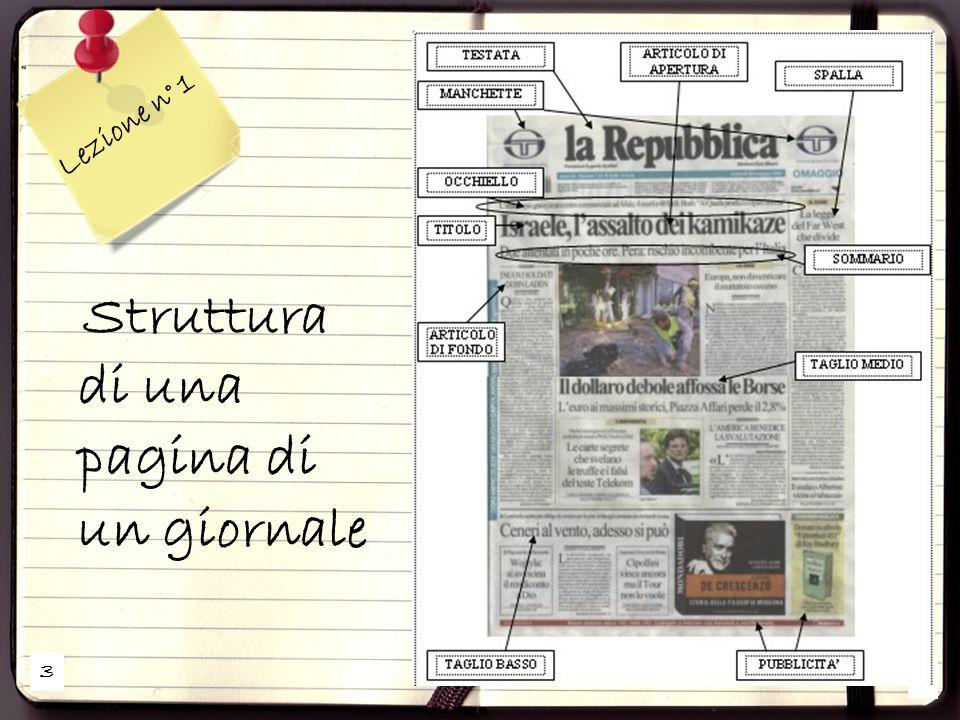 3 2 Lezione n° 1 Struttura di una pagina di un giornale
