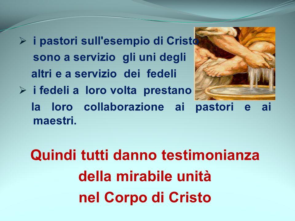 i pastori sull'esempio di Cristo sono a servizio gli uni degli altri e a servizio dei fedeli i fedeli a loro volta prestano la loro collaborazione ai