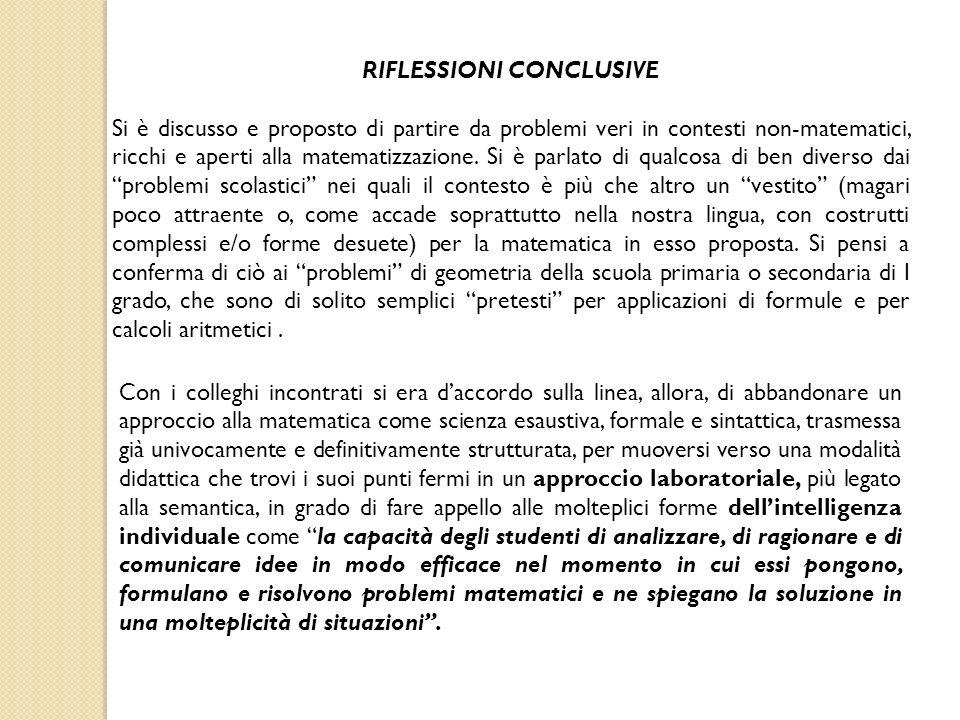 RIFLESSIONI CONCLUSIVE Si è discusso e proposto di partire da problemi veri in contesti non-matematici, ricchi e aperti alla matematizzazione.