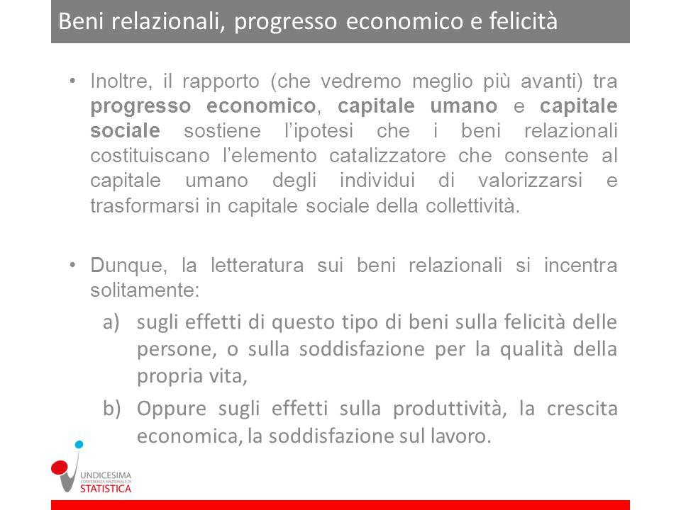 Beni relazionali e residuo di Solow Il problema può essere posto anche a livello macroeconomico.