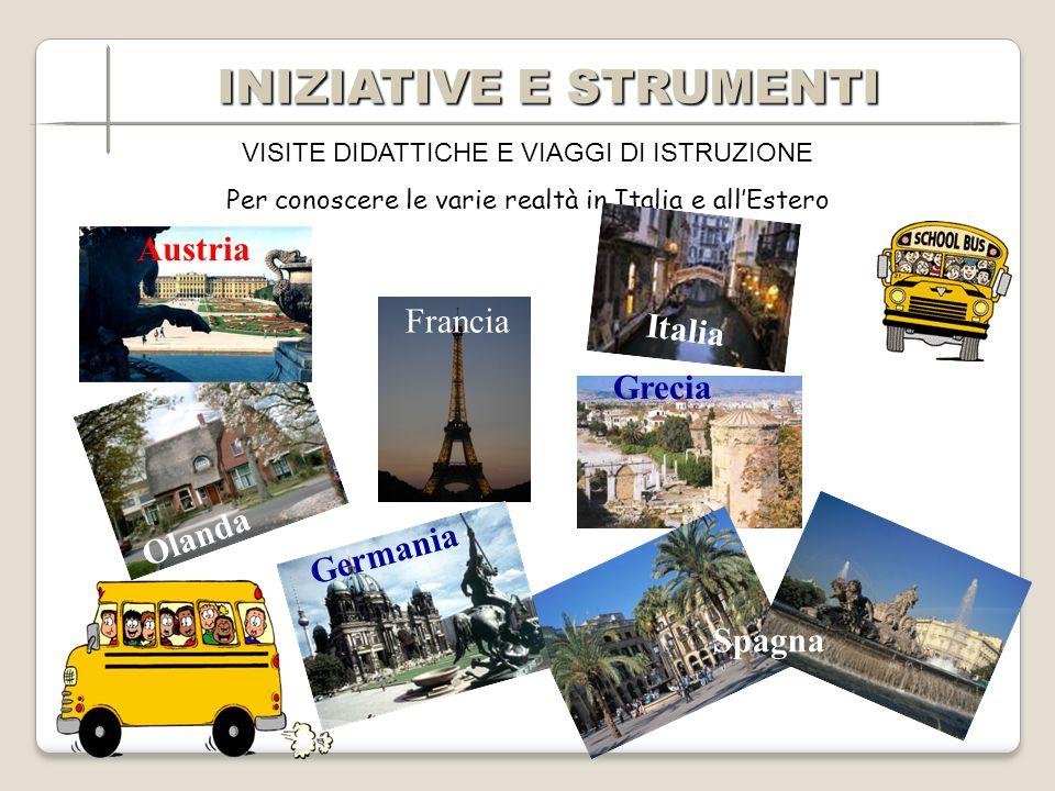 VISITE DIDATTICHE E VIAGGI DI ISTRUZIONE Per conoscere le varie realtà in Italia e allEstero Olanda Grecia Spagna Francia Germania Austria Italia INIZIATIVE E STRUMENTI INIZIATIVE E STRUMENTI
