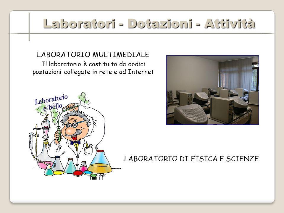 Laboratori - Dotazioni - Attività Laboratori - Dotazioni - Attività LABORATORIO MULTIMEDIALE Il laboratorio è costituito da dodici postazioni collegate in rete e ad Internet LABORATORIO DI FISICA E SCIENZE