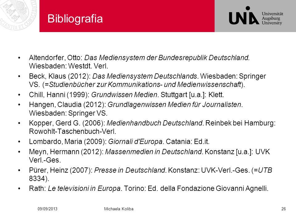Bibliografia Altendorfer, Otto: Das Mediensystem der Bundesrepublik Deutschland.