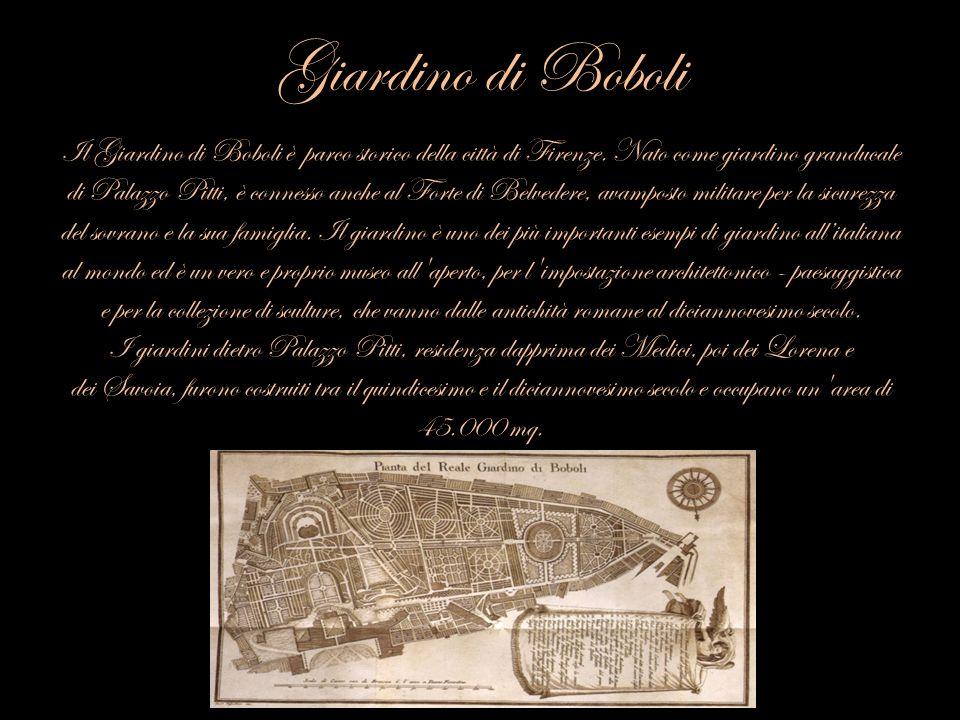 Giardino di Boboli Il Giardino di Boboli è parco storico della città di Firenze. Nato come giardino granducale di Palazzo Pitti, è connesso anche al F
