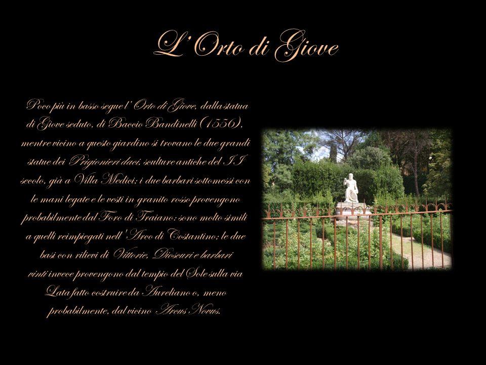 LOrto di Giove Poco più in basso segue lOrto di Giove, dalla statua di Giove seduto, di Baccio Bandinelli(1556), mentre vicino a questo giardino si tr