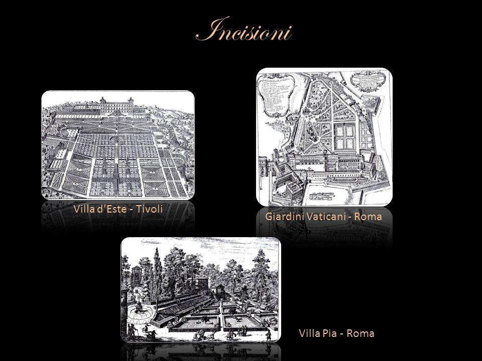 Incisioni Villa dEste - Tivoli Giardini Vaticani - Roma Villa Pia - Roma