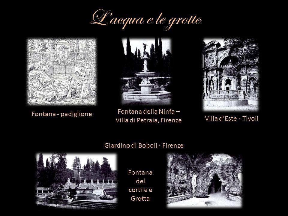 Lacqua e le grotte Fontana - padiglione Fontana della Ninfa – Villa di Petraia, Firenze Villa dEste - Tivoli Giardino di Boboli - Firenze Fontana del