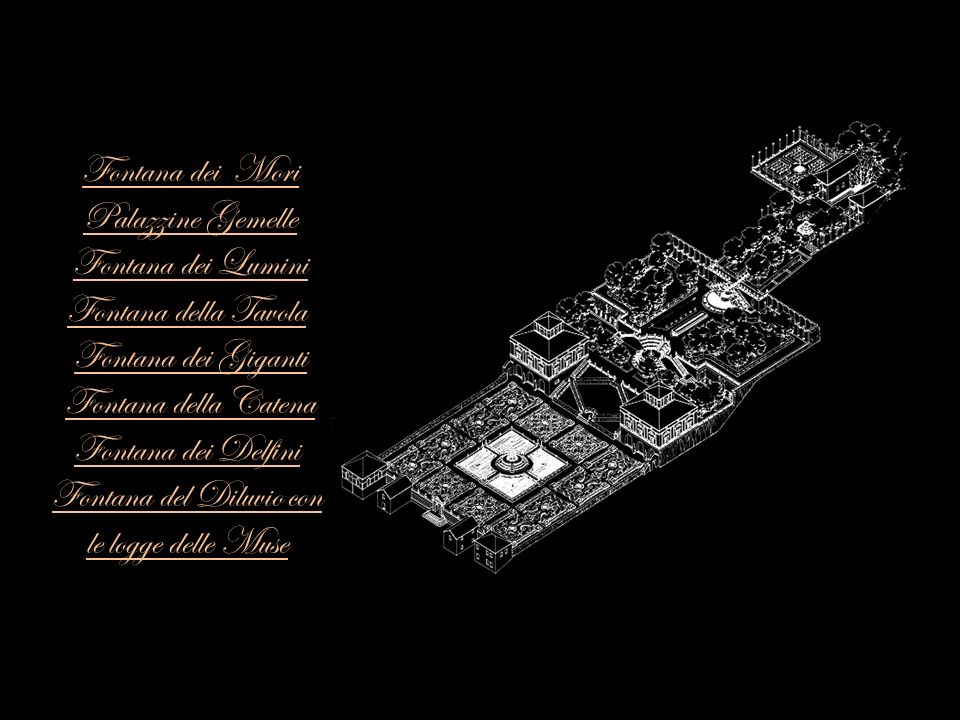 Fontana dei Mori Palazzine Gemelle Fontana dei Lumini Fontana della Tavola Fontana dei Giganti Fontana della Catena Fontana dei Delfini Fontana del Di