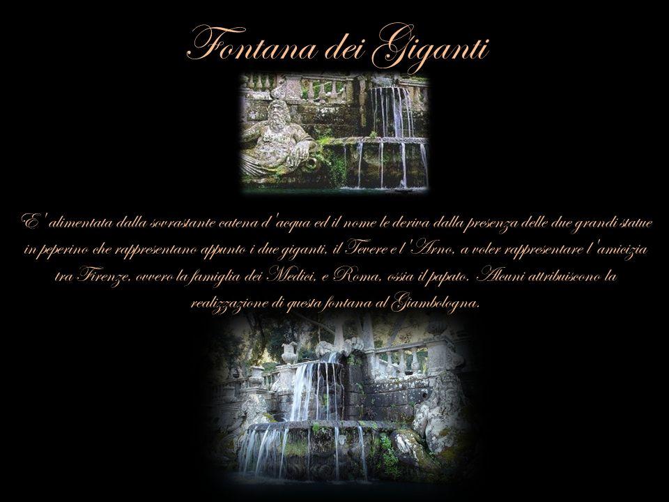 Fontana dei Giganti E' alimentata dalla sovrastante catena d'acqua ed il nome le deriva dalla presenza delle due grandi statue in peperino che rappres
