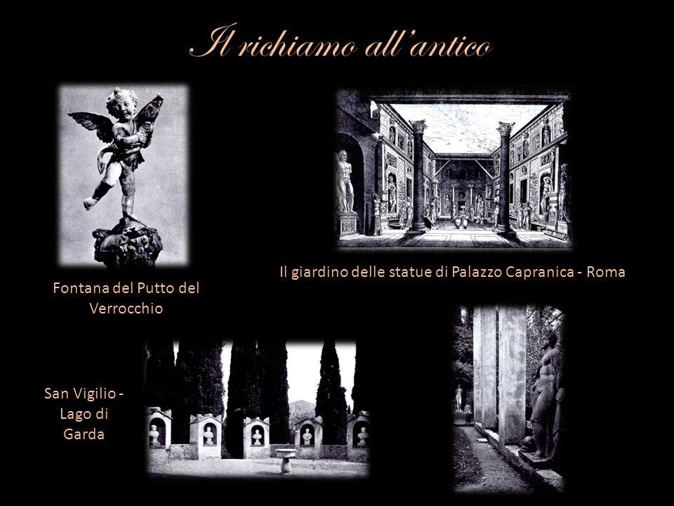 LOrto di Giove Poco più in basso segue lOrto di Giove, dalla statua di Giove seduto, di Baccio Bandinelli(1556), mentre vicino a questo giardino si trovano le due grandi statue dei Prigionieri daci, sculture antiche del II secolo, già a Villa Medici; i due barbari sottomessi con le mani legate e le vesti in granito rosso provengono probabilmente dal Foro di Traiano: sono molto simili a quelli reimpiegati nell Arco di Costantino; le due basi con rilievi di Vittorie, Dioscuri e barbari vinti invece provengono dal tempio del Sole sulla via Lata fatto costruire da Aureliano o, meno probabilmente, dal vicino Arcus Novus.