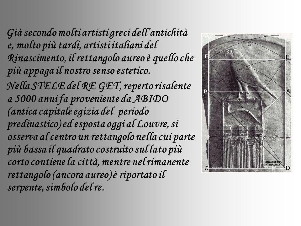 Già secondo molti artisti greci dellantichità e, molto più tardi, artisti italiani del Rinascimento, il rettangolo aureo è quello che più appaga il no
