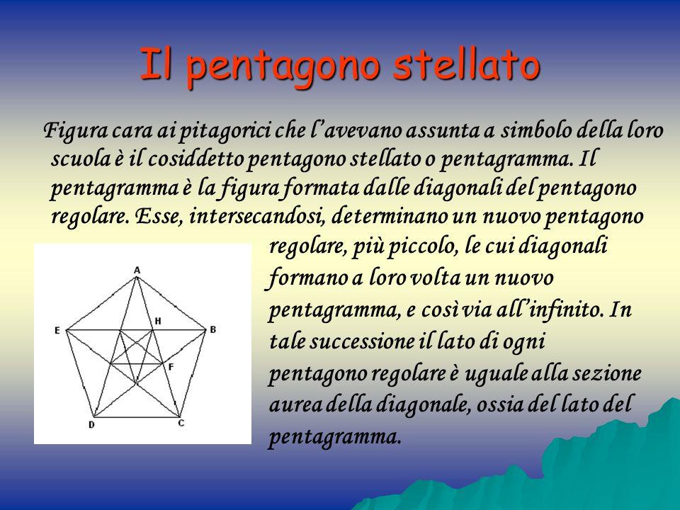 Il pentagono stellato Figura cara ai pitagorici che lavevano assunta a simbolo della loro scuola è il cosiddetto pentagono stellato o pentagramma. Il