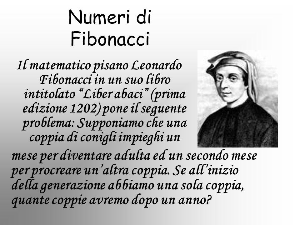 Il matematico pisano Leonardo Fibonacci in un suo libro intitolato Liber abaci (prima edizione 1202) pone il seguente problema: Supponiamo che una cop