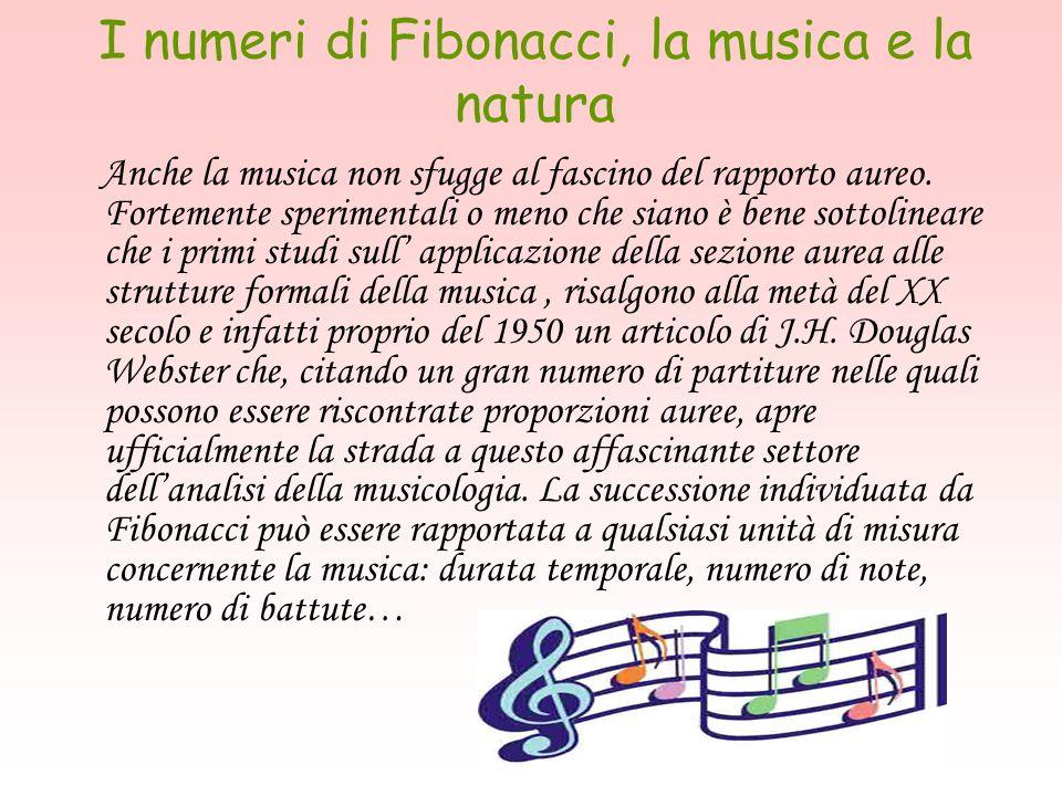 I numeri di Fibonacci, la musica e la natura Anche la musica non sfugge al fascino del rapporto aureo. Fortemente sperimentali o meno che siano è bene