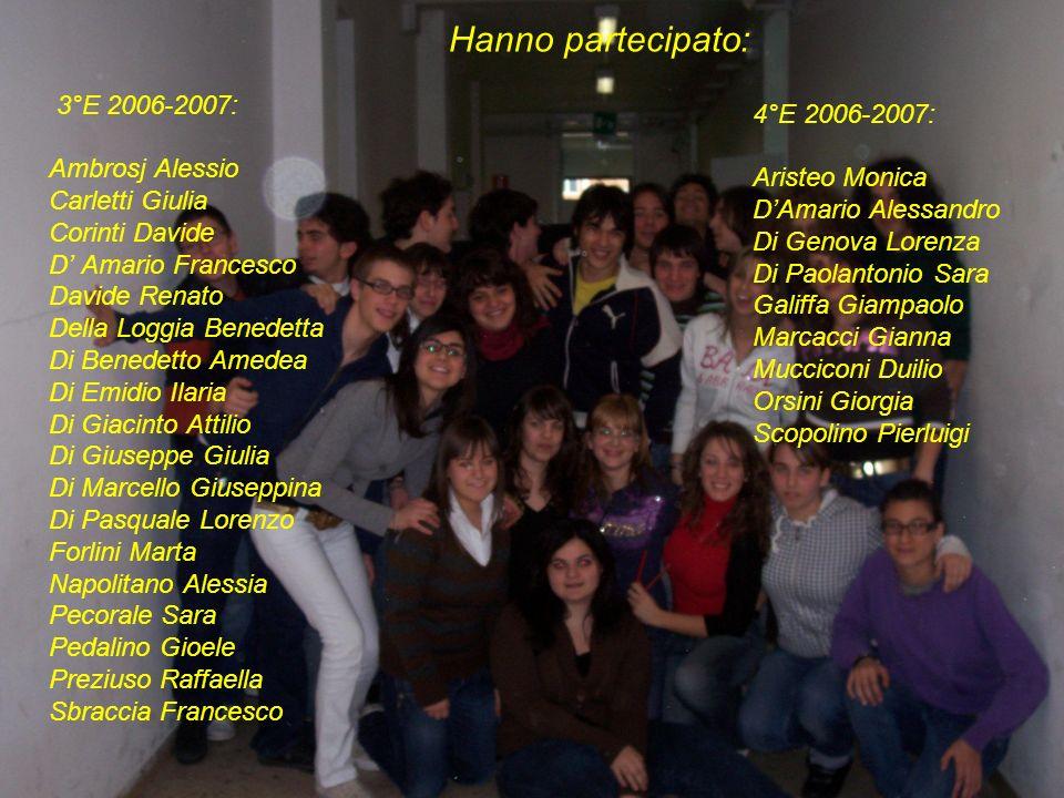 Hanno partecipato: 4°E 2006-2007: Aristeo Monica DAmario Alessandro Di Genova Lorenza Di Paolantonio Sara Galiffa Giampaolo Marcacci Gianna Mucciconi