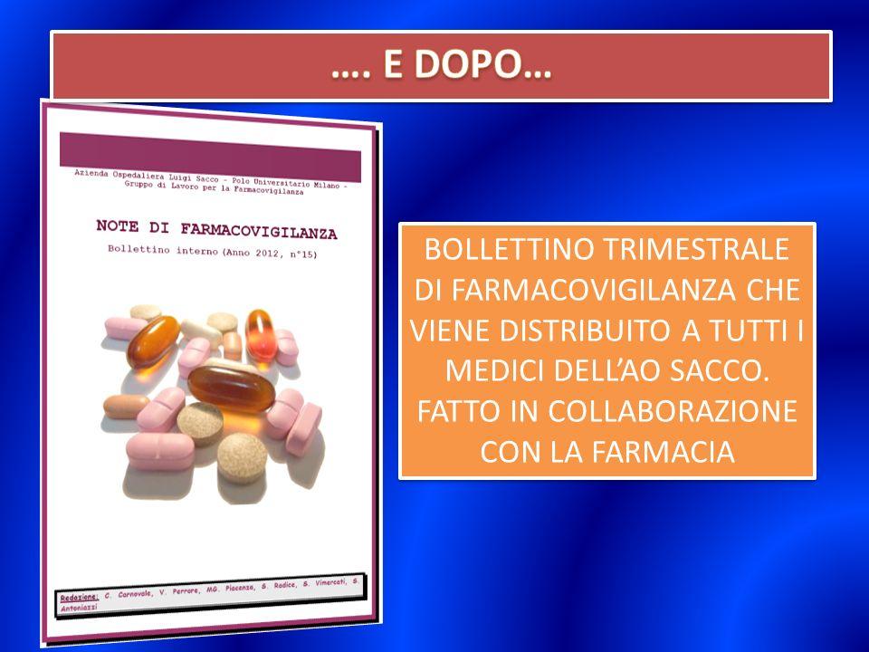 BOLLETTINO TRIMESTRALE DI FARMACOVIGILANZA CHE VIENE DISTRIBUITO A TUTTI I MEDICI DELLAO SACCO.
