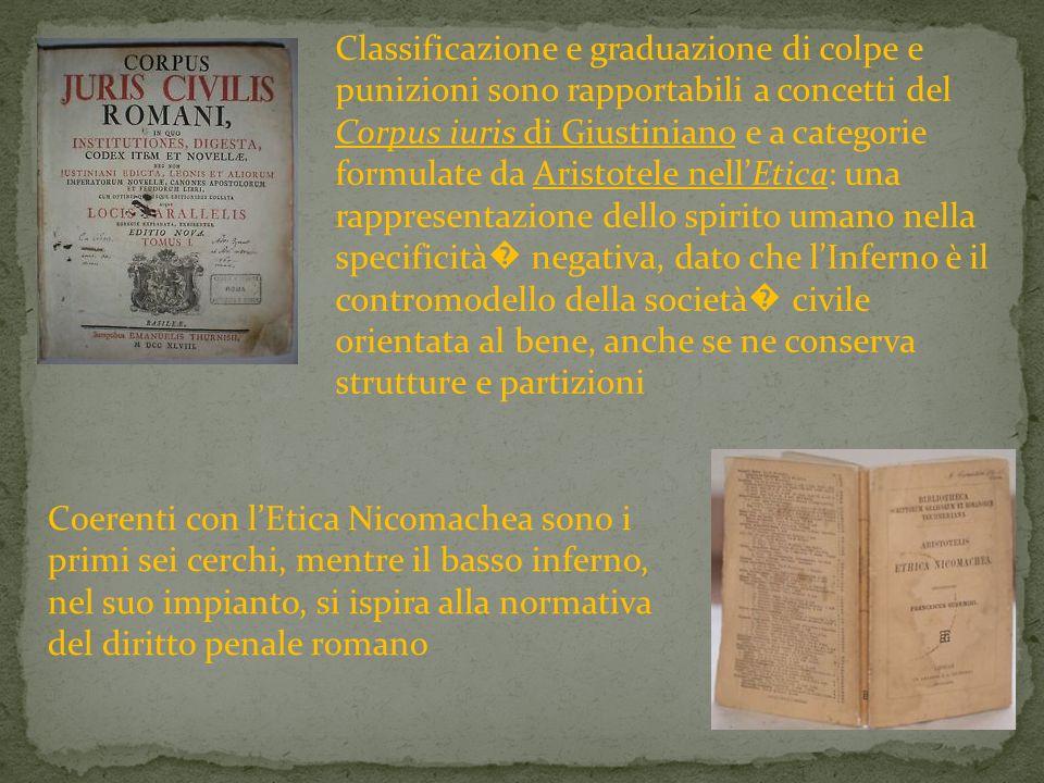 Classificazione e graduazione di colpe e punizioni sono rapportabili a concetti del Corpus iuris di Giustiniano e a categorie formulate da Aristotele