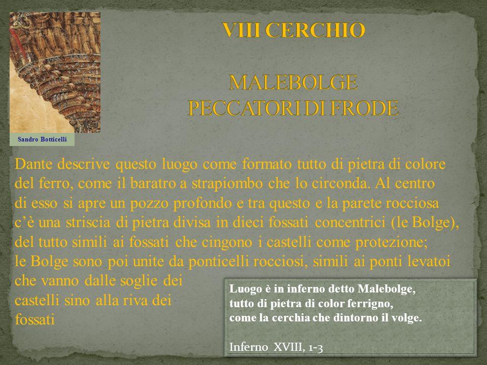Sandro Botticelli Dante descrive questo luogo come formato tutto di pietra di colore del ferro, come il baratro a strapiombo che lo circonda. Al centr