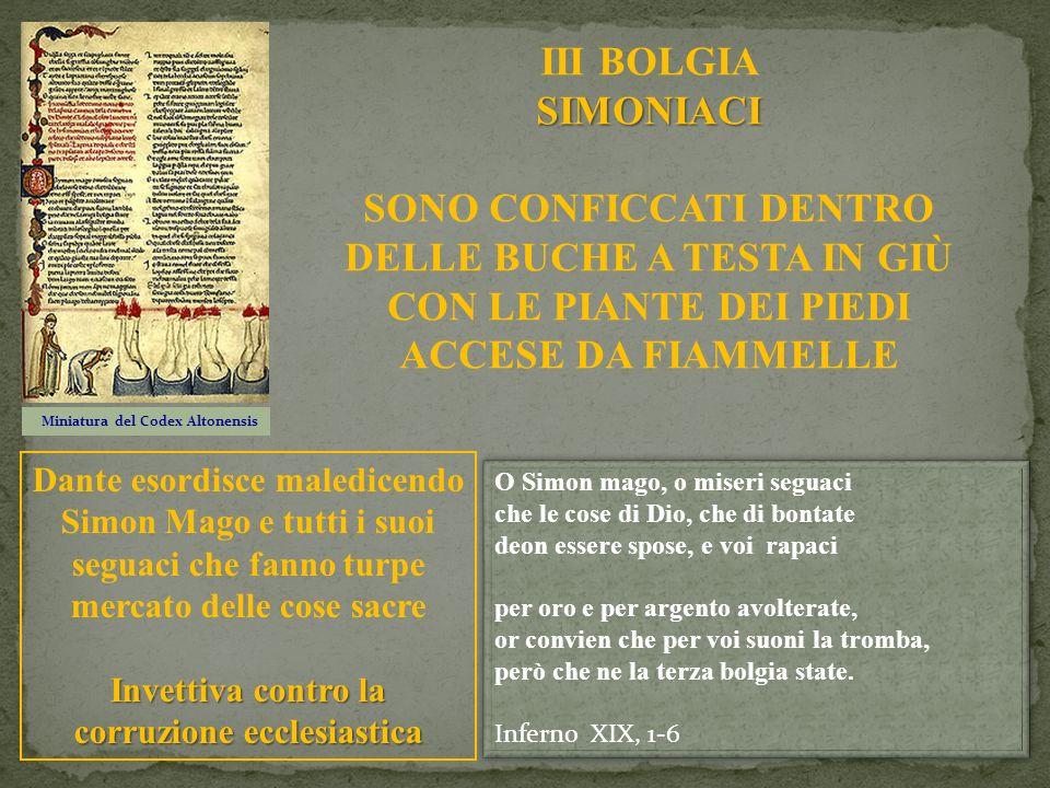 Miniatura del Codex Altonensis SIMONIACI III BOLGIA SIMONIACI SONO CONFICCATI DENTRO DELLE BUCHE A TESTA IN GIÙ CON LE PIANTE DEI PIEDI ACCESE DA FIAM