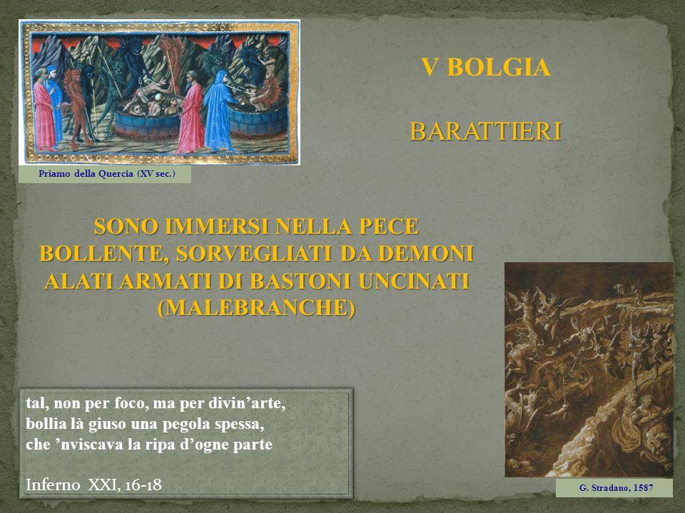SONO IMMERSI NELLA PECE BOLLENTE, SORVEGLIATI DA DEMONI ALATI ARMATI DI BASTONI UNCINATI (MALEBRANCHE) Priamo della Quercia (XV sec.) G. Stradano, 158