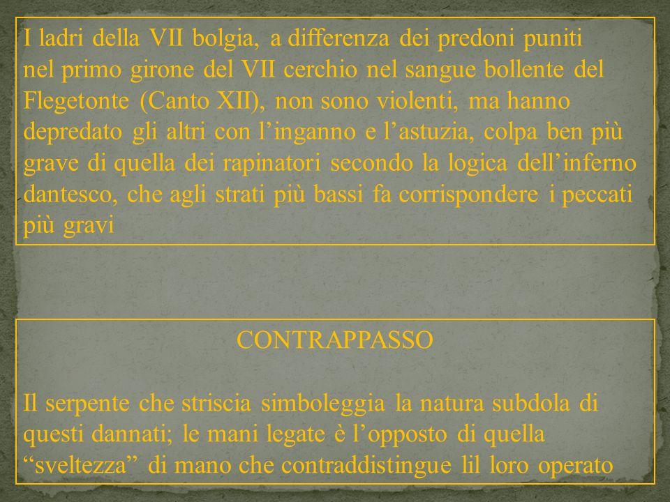 I ladri della VII bolgia, a differenza dei predoni puniti nel primo girone del VII cerchio nel sangue bollente del Flegetonte (Canto XII), non sono vi
