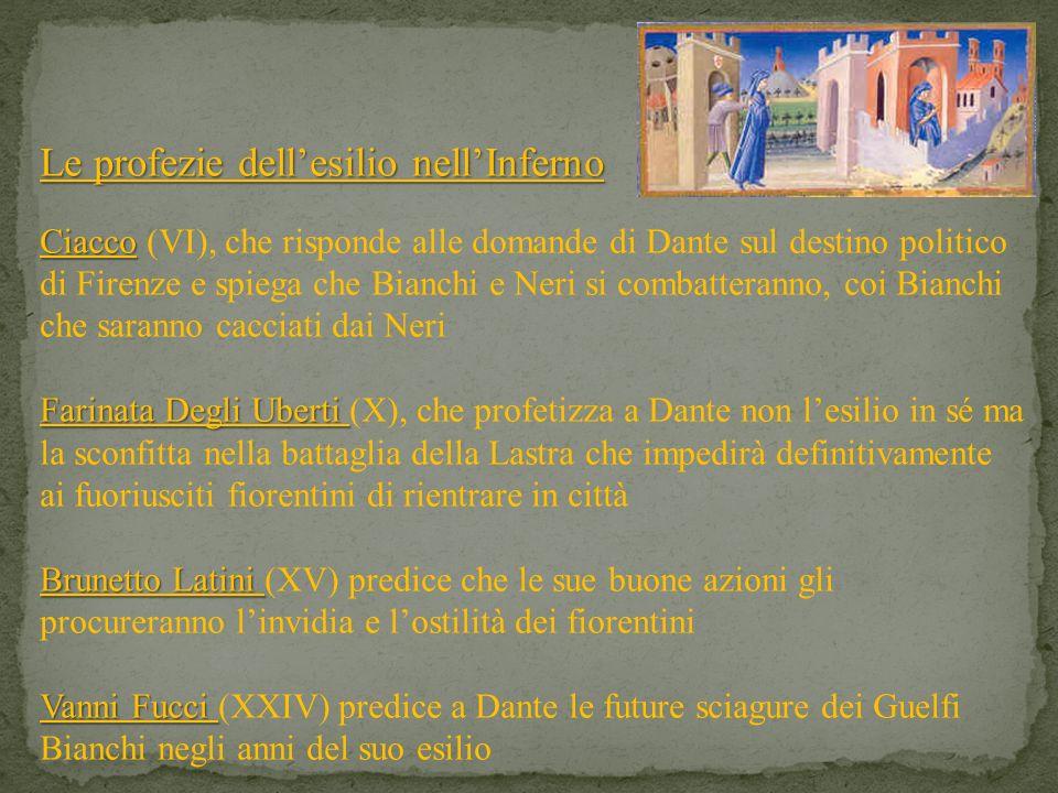Le profezie dellesilio nellInferno Ciacco Ciacco (VI), che risponde alle domande di Dante sul destino politico di Firenze e spiega che Bianchi e Neri