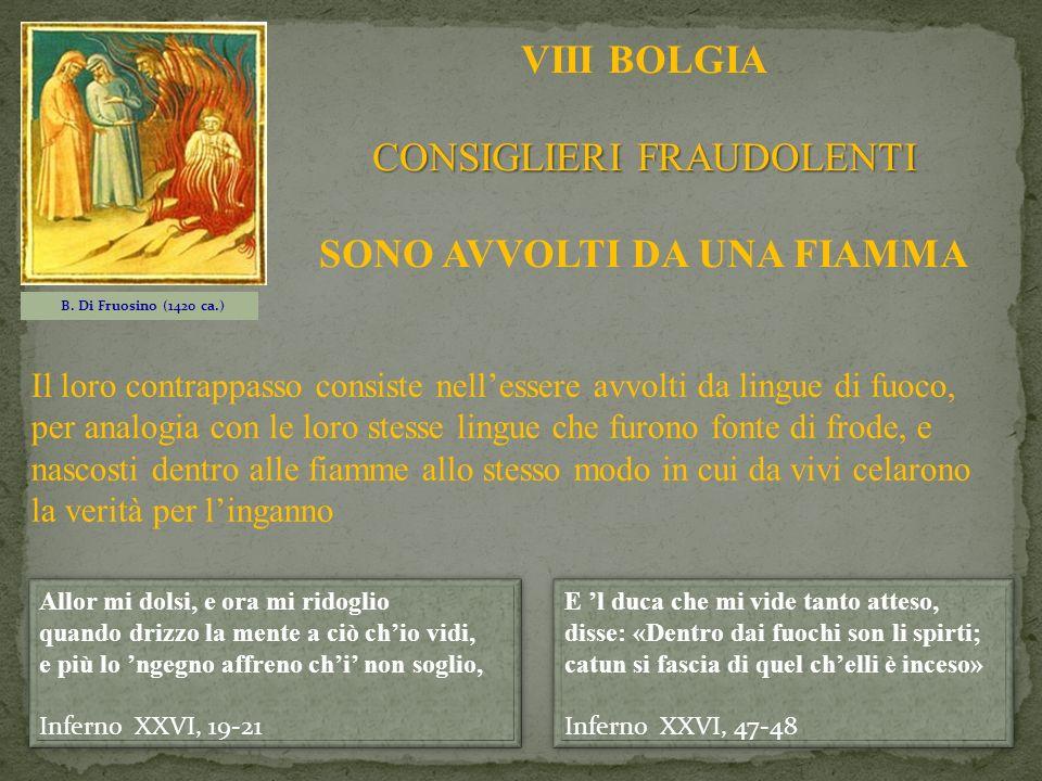 B. Di Fruosino (1420 ca.) VIII BOLGIA CONSIGLIERI FRAUDOLENTI SONO AVVOLTI DA UNA FIAMMA E l duca che mi vide tanto atteso, disse: «Dentro dai fuochi