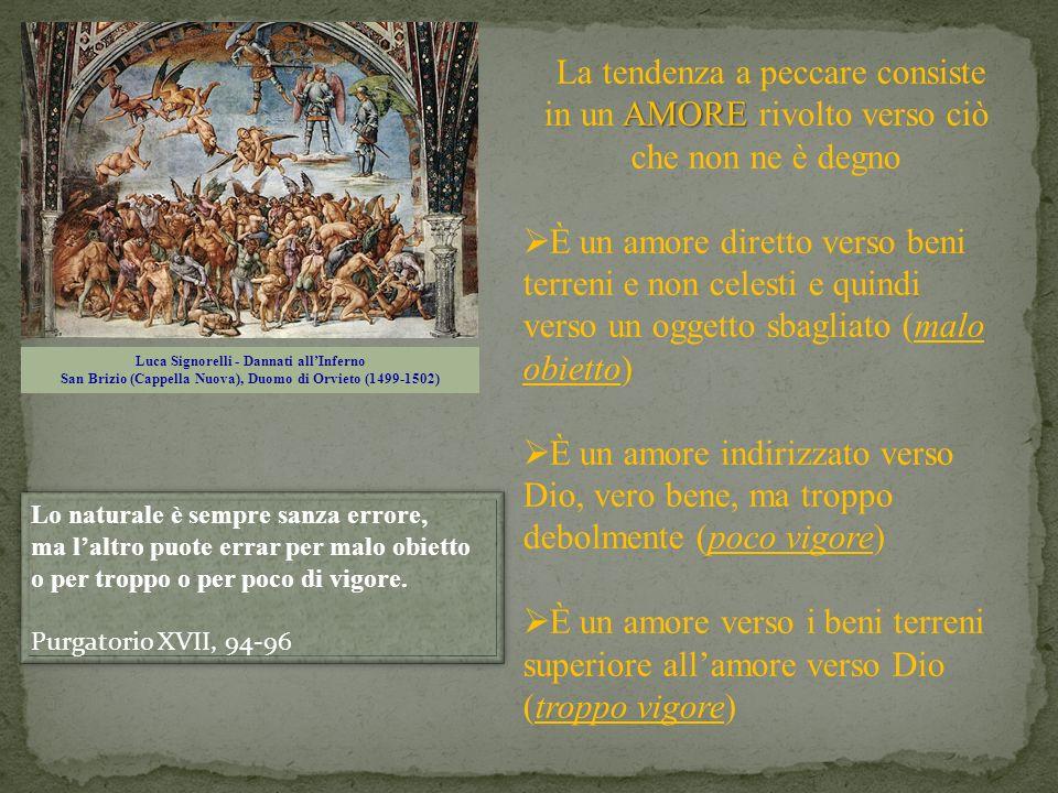 Luca Signorelli - Dannati allInferno San Brizio (Cappella Nuova), Duomo di Orvieto (1499-1502) AMORE La tendenza a peccare consiste in un AMORE rivolt