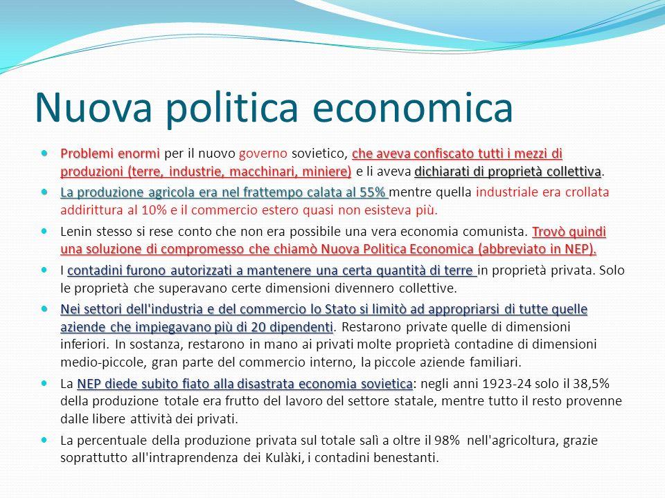 Nuova politica economica Problemi enormi che aveva confiscato tutti i mezzi di produzioni (terre, industrie, macchinari, miniere)dichiarati di proprie