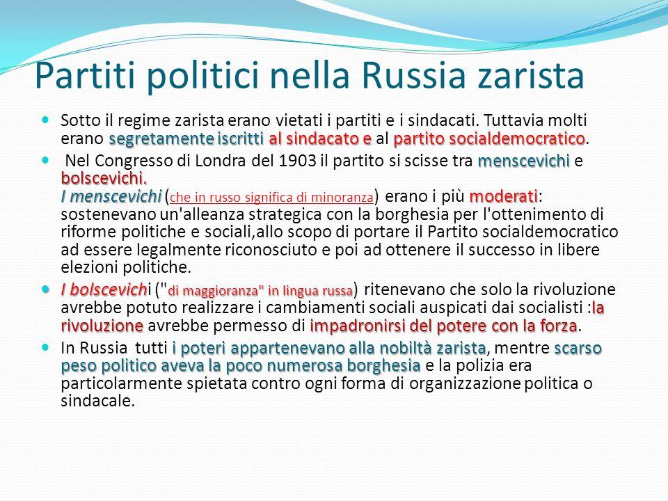 Partiti politici nella Russia zarista segretamente iscritti al sindacato e partito socialdemocratico Sotto il regime zarista erano vietati i partiti e