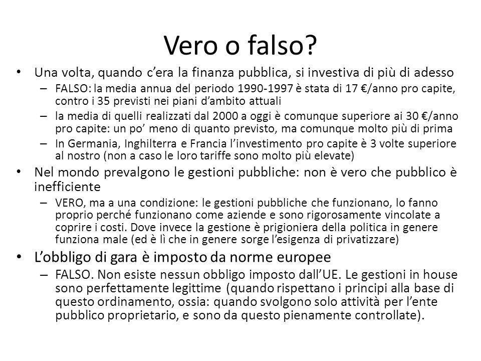 Vero o falso? Una volta, quando cera la finanza pubblica, si investiva di più di adesso – FALSO: la media annua del periodo 1990-1997 è stata di 17 /a