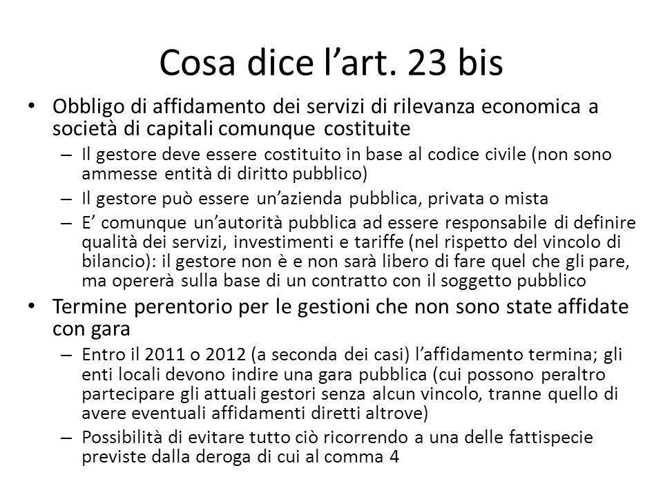 Cosa dice lart. 23 bis Obbligo di affidamento dei servizi di rilevanza economica a società di capitali comunque costituite – Il gestore deve essere co