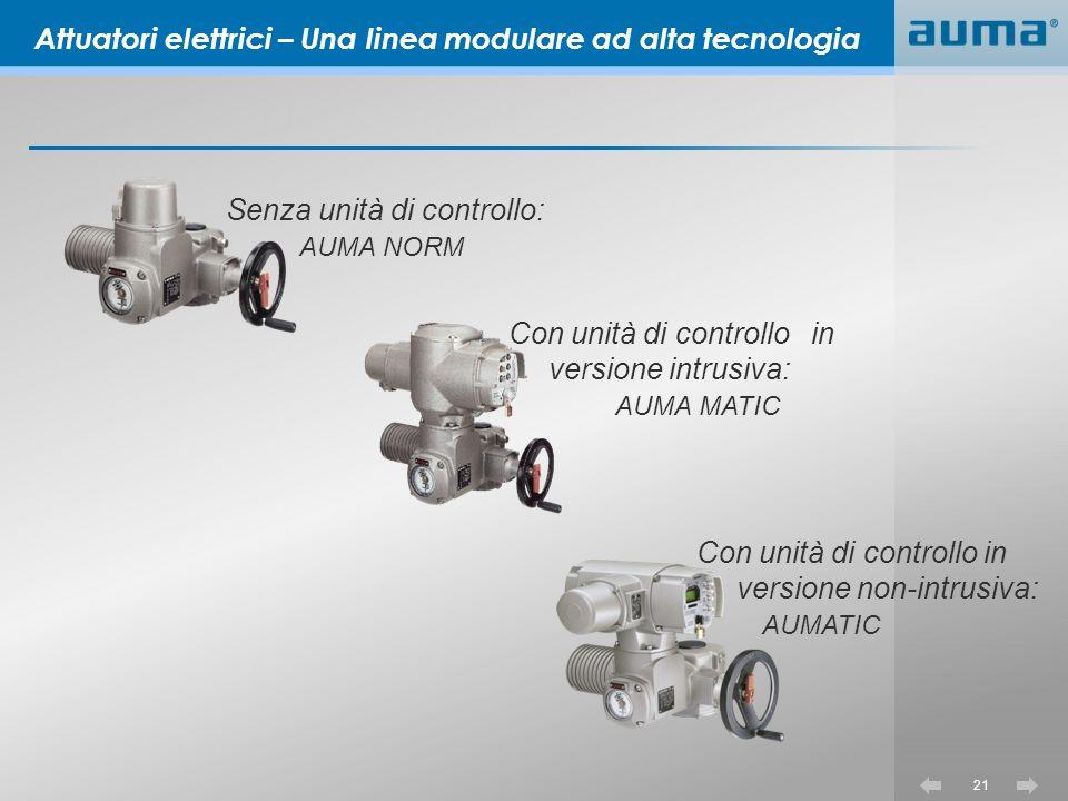 21 Senza unità di controllo: AUMA NORM Attuatori elettrici – Una linea modulare ad alta tecnologia Con unità di controllo in versione non-intrusiva: AUMATIC Con unità di controllo in versione intrusiva: AUMA MATIC