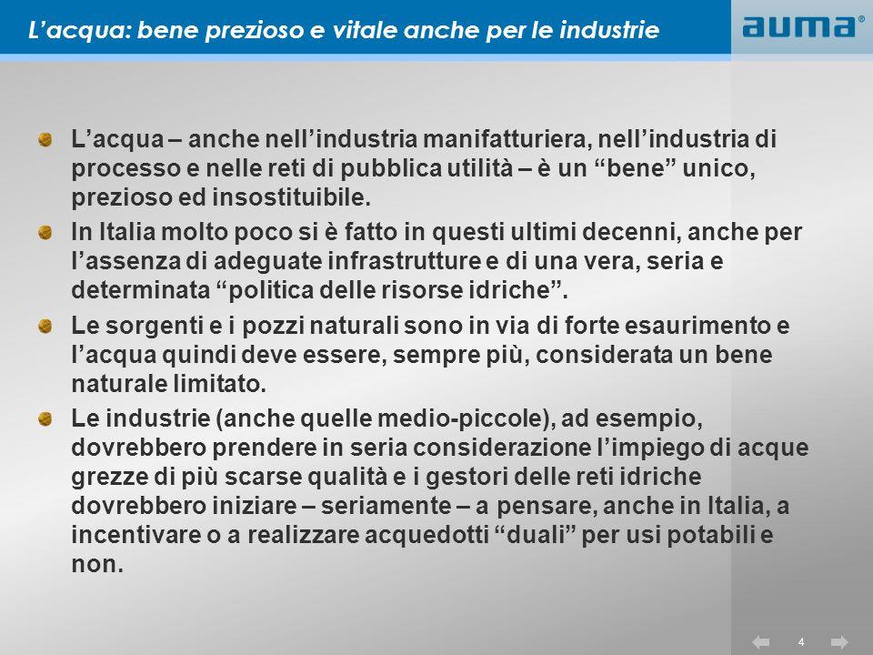 4 Lacqua – anche nellindustria manifatturiera, nellindustria di processo e nelle reti di pubblica utilità – è un bene unico, prezioso ed insostituibile.