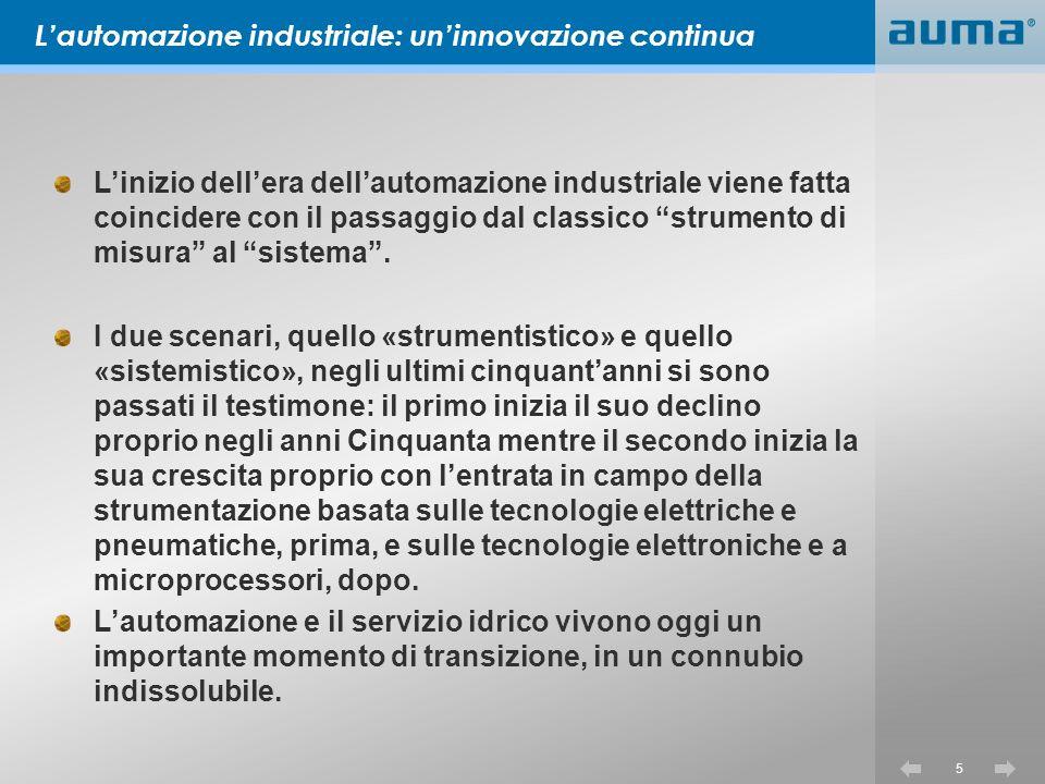 5 Linizio dellera dellautomazione industriale viene fatta coincidere con il passaggio dal classico strumento di misura al sistema.
