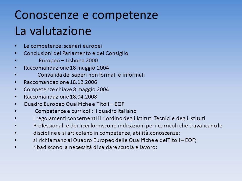 Conoscenze e competenze La valutazione Le competenze: scenari europei Conclusioni del Parlamento e del Consiglio Europeo – Lisbona 2000 Raccomandazion
