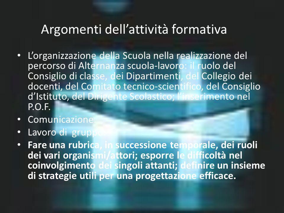 Argomenti dellattività formativa Lorganizzazione della Scuola nella realizzazione del percorso di Alternanza scuola-lavoro: il ruolo del Consiglio di