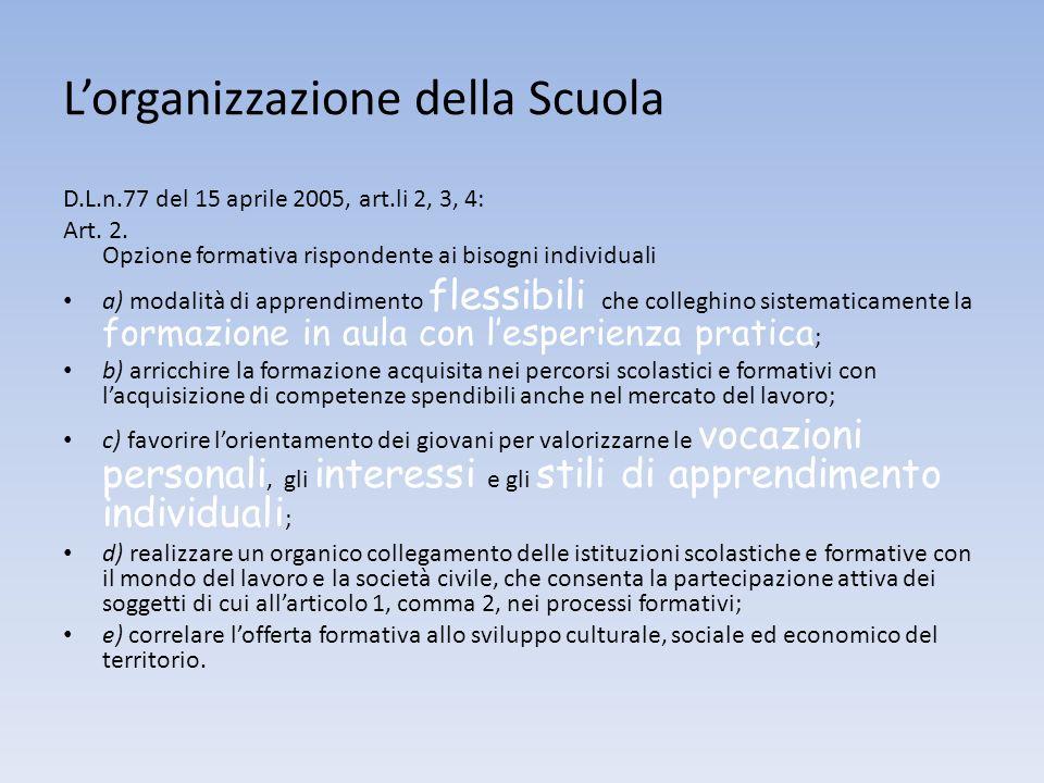 Lorganizzazione della Scuola D.L.n.77 del 15 aprile 2005, art.li 2, 3, 4: Art. 2. Opzione formativa rispondente ai bisogni individuali a) modalità di
